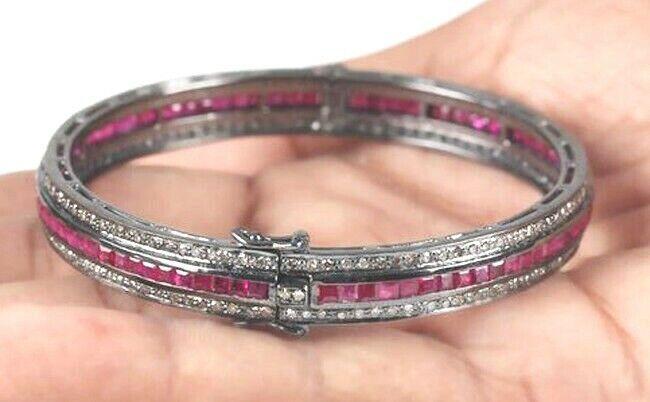 6.50ct Rose Cut Diamond Antique Look 925 Silver Ruby Gemstone Bracelet