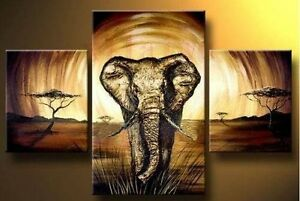 MODERN-ABSTRACT-HUGE-WALL-ART-OIL-PAINTING-ON-CANVAS-Elephant