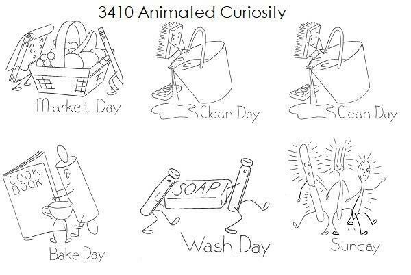 Animated Curiosity 3410 Repo iron on Embroidery Transfer Wash Iron Mend Bake Day