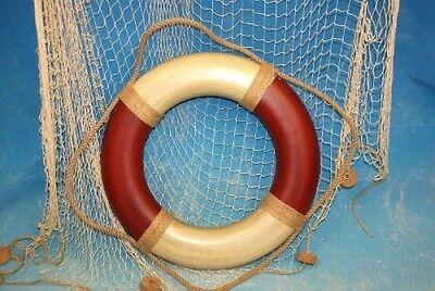 maritime Deko Rettungsring rot/creme Ø: 49 cm, Innen-Ø: 29 cm