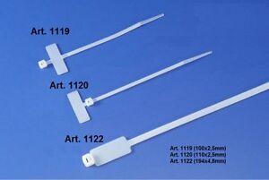 100 x Kabelmarkierer Kabelbinder 2,5x110mm Beschriftungsfeld über d Kopf natur