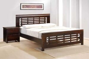 Solid hardwood bed frame with euro top mattress, NEW IN BOXES