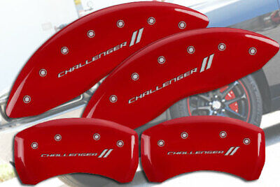 """2011-2020 Dodge """"Challenger //"""" Front Rear Red MGP Brake Disc Caliper Covers BR5"""