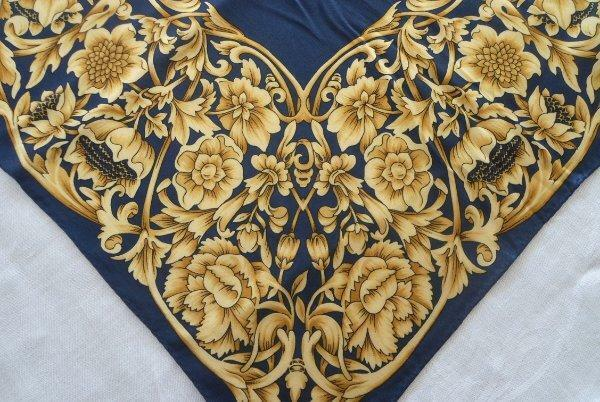 Vintage Silk Scarf Museum of Fine Arts Boston Navy Blue Gold Floral Classic