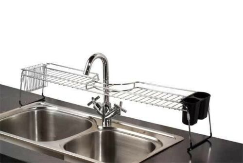 Home Basics NEW Chrome Over the Sink Sturdy Sponge Shelf Org