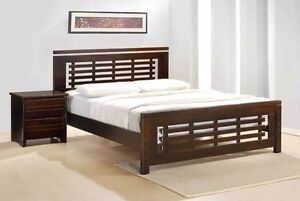 SOLID HARDWOOD BED FRAME WITH EURO TOP MATTRESS