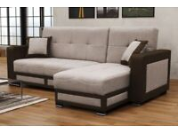 CORNER SOFA-BED TINA BRAND NEW AVAIABLE IN BROWN/BEIGE COLOURS SAME/NEXT DAY DELIVERY