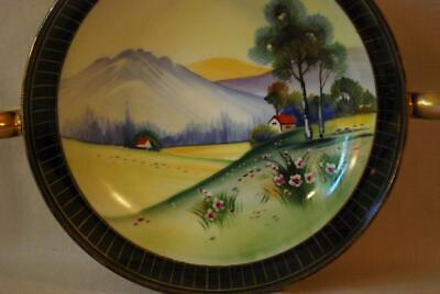 Noritake Nippon 2 Handle Footed Bowl Cottage Mountain Fantasy Scene Gold Lustre - $24.95