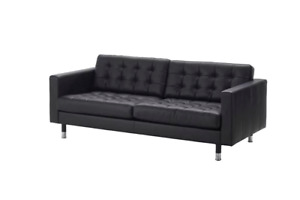 Ikea leather LANDSKRONA couch (black cover /metal legs)