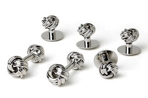 NEW Mens Polished Silver Two Sided Love Knots Cuff Links & Studs Formal Gift Set