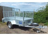 TIPPING TRAILER 8'X5' WITH MESH SIDES. AS NEW -- NO VAT