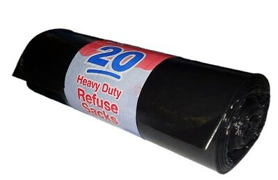 1000 Heavy Duty Black Refuse Sacks Bin Bags 20's roll