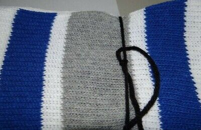 1 Pair White tube socks with Royal/Gray Stripes-Approx. 31-33