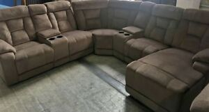 BRAND NEW BEIGE CLOTH SECTIONAL SOFA SET
