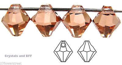 12 Czech Machine Cut Top-Drilled Bicone Pendant Crystals 6mm Light Peach color Bicone Pendant Light