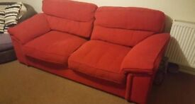 Red fabric two-seater sofa. FREE!
