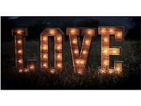 LOVE lights only £195 to hire - Giant Rustic Wood 4ft LOVE Letters - Weddings - illuminated lights