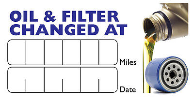 60 x Oil & Oil Filter Change Reminder Service Stickers Labels 64mm x 34mm