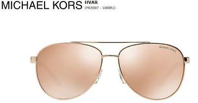 Neu Michael Kors MK5007 1080R1 Weiß Aviator Pink Rose Gold Spiegel Sonnenbrille