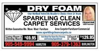 SPARKLING CLEAN CARPETS, DRY FOAM - BURLINGTON, OAKVILLE, MILTON