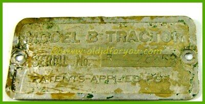 John Deere Unstyled B Serial Number Tag Sn 28869 St Louis Mo Branch Archive