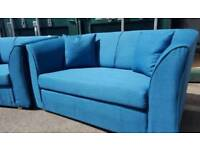 EX DISPLAY NEW Designer 2 Seater Sofa in Blue DELIVERY AVAILABLE