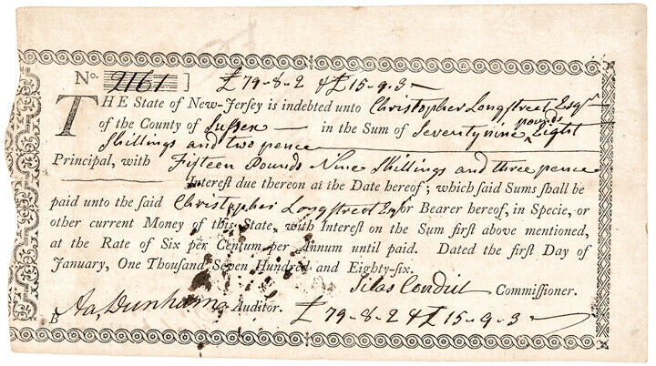 1786 Fiscal Document Paying NJ Revolutionary War Debt - Only 2 to 3 Known!