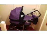 Pram Travel system and accessories + 2 baby chairs and jungle gym