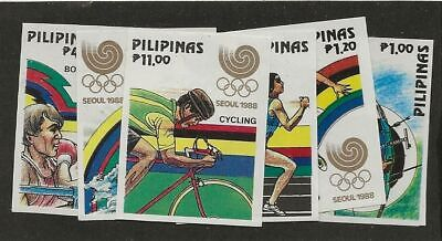 PHILIPPINES SC# 1955-60 MNH STAMPS IMPERFORATED SEOUL 1988