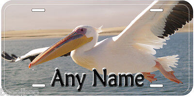 White Pelican Flying Any Name Personalized Novelty Car License Plate