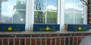 3 Wooden Window Box Planters : NEW never used : As shown