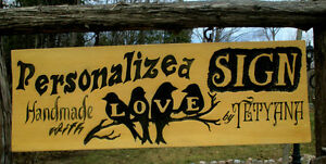 Custom hand carved personalized wood sign