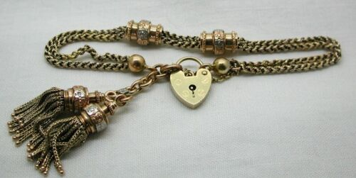 Victorian Beautiful Three Colour 15 carat Gold Albert Bracelet With Tassels