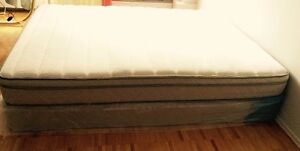 Queen Bed, bed frame with Mattress and box spring