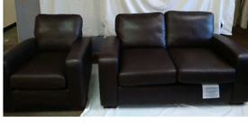 NEXT Brown Leather Two Sofa and Armchair Mint Condition