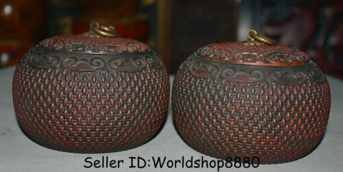 "5.2"" Old China Dynasty Huanghuali Wood bamboo weaving Caddy Pot Jar Crock Pair"
