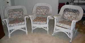 Antique Bar Harbour Wicker chairs (2 arm chairs & rocker)