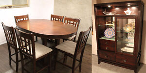 Dining table with 6 chairs and Buffet and hutch