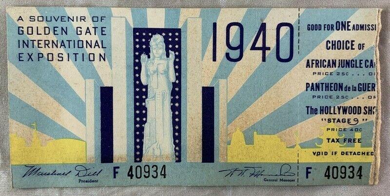 1940 Art Deco Original GGIE World Fair Ticket San Francisco California Expo
