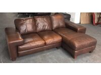 DFS High Quality Distressed Style Thick Leather Corner/Lounger Sofa .WE DELIVER