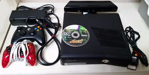 XBOX 360 with kinect sensor, 2 controllers, 7 games & all cables