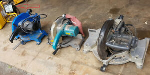 3 Mitre Saws and work light