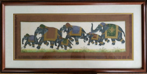 ASIAN STYLE FRAMED ARTWORK ELEPHANTS 12 X 24 INCHES