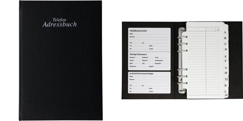 Telefonbuch Adressbuch Adresskartei Telefonregister schwarz Ringbuch Adressen