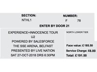 2 U2 tickets, SSE Arena, 27th October. Selling at £190 each (Face value plus booking fee)