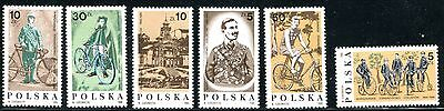 POLAND 1986 HISTORY OF CYCLING - BICYCLES MINT SET OF 6