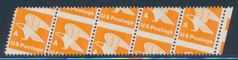 "#1735 Var. ""eagle"" Strip Of 5 With Major Perf Shift Error Bs9556"