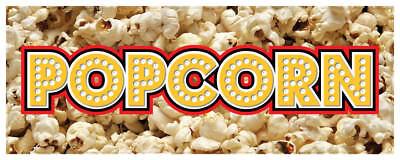 Popcorn Banner Concession Cart Kettle Corn Sign 18x48