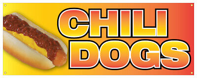 Chili Dogs Banner Hot Dog Spicy Traditional Onion Concession Stand Sign 18x48