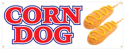 Corn Dog Banner Hot Dog Hot Fresh On A Stick Concession Stand Sign 24x72